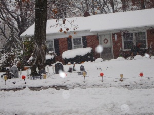 Halloween decorations in October snow