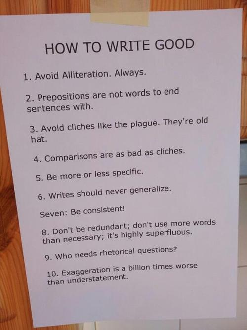 humorous list of language errors